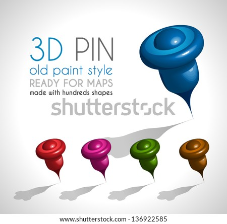3d Style pin made wit a lot of shapes and in 5 different colors. Ready to use on gps map or just like a pin on papers - stock vector