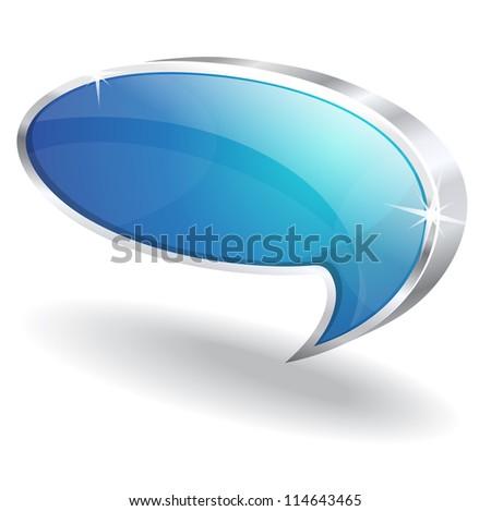 3d Talk Balloon Vector Icon - stock vector