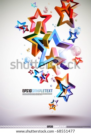 3D Tangled Stars - stock vector
