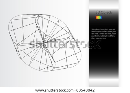 3D Technical Drawing - stock vector
