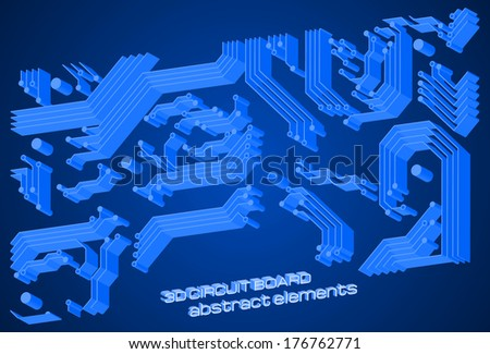 3D technology background with circuit board elements. Vector illustration.