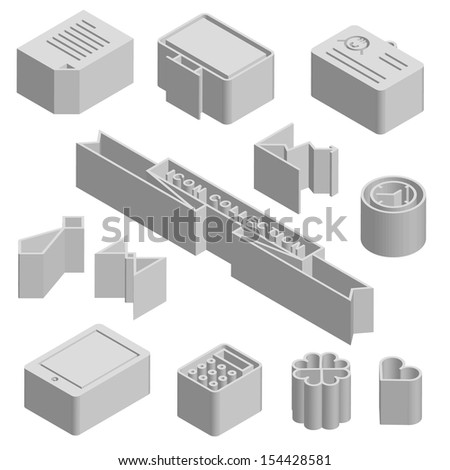 3D technology icons - stock vector
