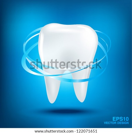 3d teeth protection on blue background. - stock vector
