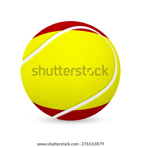 3D tennis balls with Spanish flag isolated on white. Vector EPS10 illustration.  - stock vector
