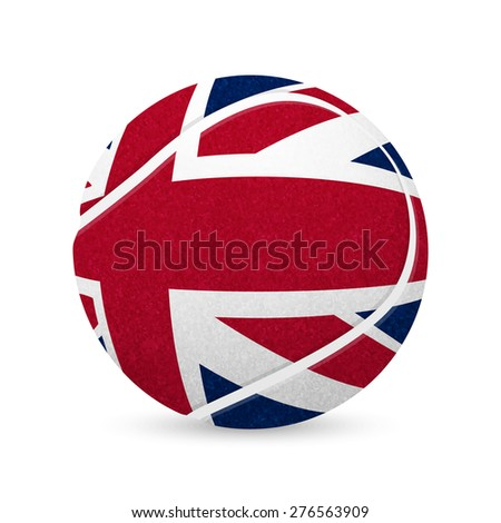 3D tennis balls with UK flag isolated on white. Vector EPS10 illustration.  - stock vector