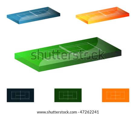 3D Tennis courts  (grass, clay and hard)  and base diagrams proportional to real dimensions - 1 yard = 10 PX - stock vector