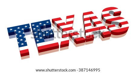3D Texas with American flag Word Text Flag (letters) - stock vector