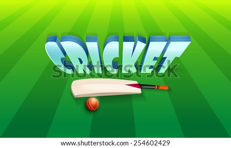 3D text Cricket with shiny bat and red ball on green stadium background. - stock vector