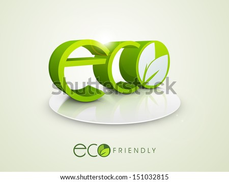 3D text Eco on stage, save the nature concept.  - stock vector