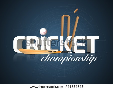 3D text for Cricket Championship with bat, white ball and wicket stumps on blue background. - stock vector