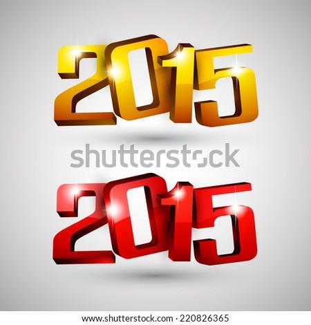 3d text 2015 happy new year design. Vector illustration.  - stock vector