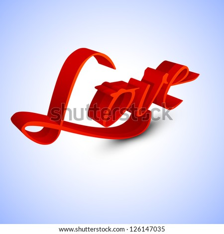 3D text Love in red color on purple background for Valentines Day..