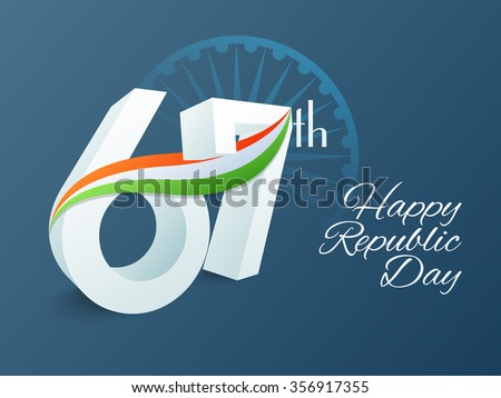 3D text 67th with National Flag colours waves on Ashoka Wheel decorated background for Happy Indian Republic Day celebration. - stock vector