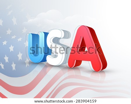 3D text USA on national flag waves background for 4th of July, American Independence Day celebration. - stock vector