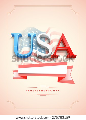 3D text USA with blank ribbon on waving national flag decorated glossy background for American Independence Day celebration. - stock vector
