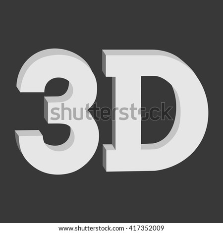 3D three-dimensional button sign in solid grayscale colors icon on black background. Vector illustration.