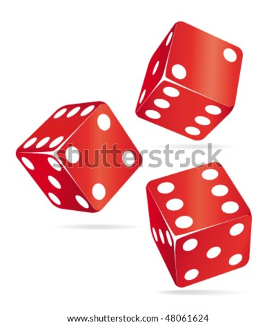 3d Three red casino dices. Vector illustration. - stock vector