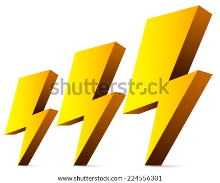 3d Thunderbolts, thunders, sparkles, electricity symbols - stock vector