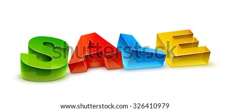 3d transparent SALE letters lying on a white plane. EPS10 vector. Realistic shadow and volume effects.
