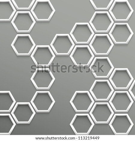 3d trendy geometric background with hexagons - stock vector