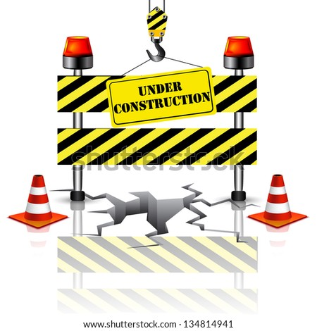 3d under construction - stock vector
