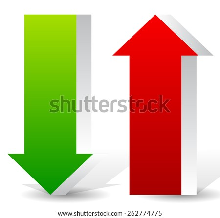 3D Up and Down Arrow Shapes - stock vector