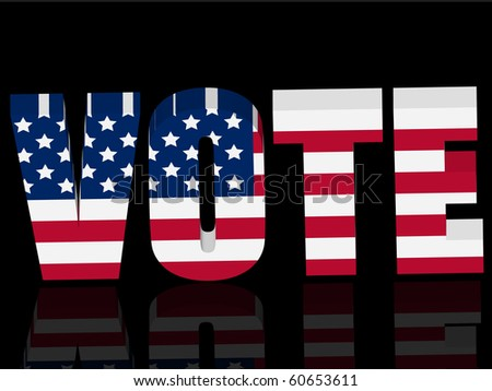 3d US election vote symbol with reflection