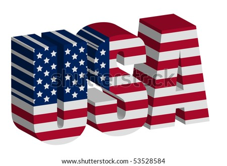 3D USA letters on white - stock vector