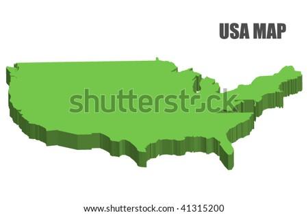 3D USA map - stock vector