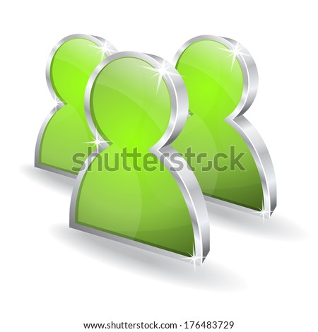 3d Users Green Vector Icon - stock vector