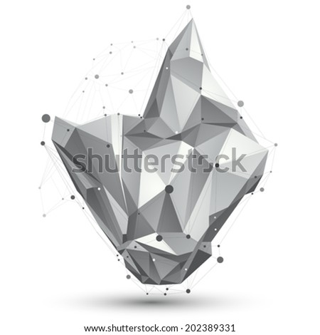 3D vector abstract design object, polygonal complicated figure with lines mesh isolated on white background. - stock vector