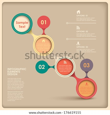3d vector abstract flow chart infographic elements - stock vector