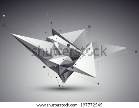 3D vector abstract tech illustration, perspective geometric unusual background with wireframe. - stock vector