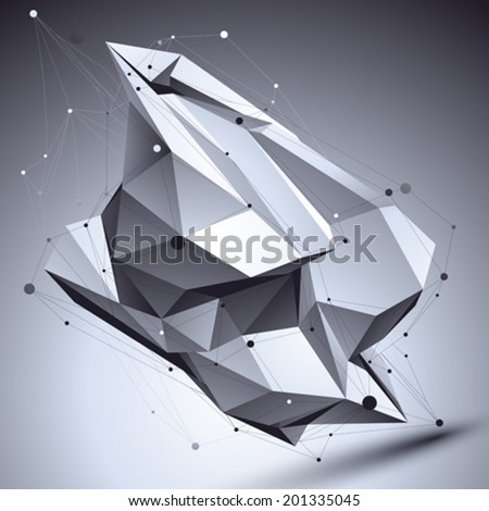 3D vector abstract technological illustration, perspective geometric contrast background with asymmetric wireframe. - stock vector