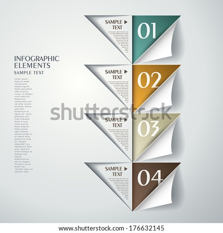 3d vector abstract triangle paper infographic elements