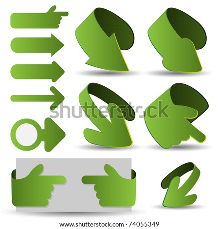 3d vector arrows set - stock vector