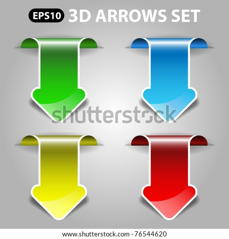 3d vector arrows set - stock vector