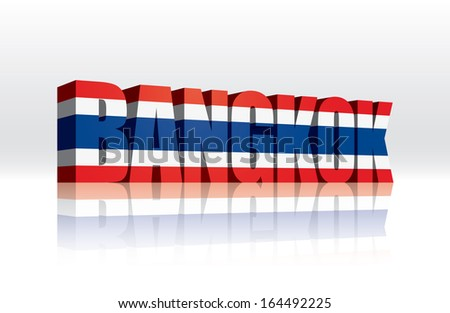 3D Vector Bangkok (Thailand) Word Text Flag