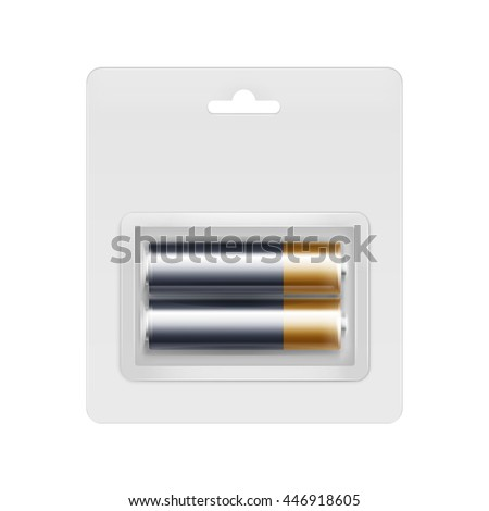 3D Vector Black Golden Glossy Alkaline AA Batteries in Transparent Blister Packed for branding Close up Isolated on White Background - stock vector