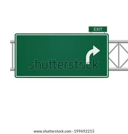 3d vector blank highway sign isolated on white - stock vector