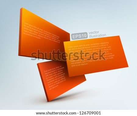 3d vector boards - stock vector