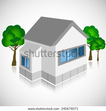 3d vector building with trees - stock vector