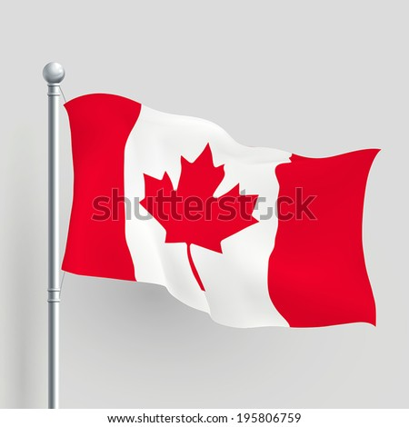 3d vector Canada flag blowing in a breeze - stock vector
