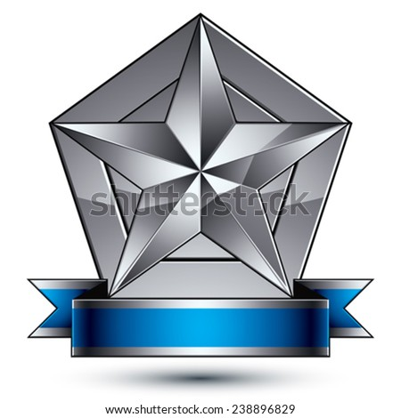 3d vector classic protection symbol, sophisticated silver emblem with pentagonal star isolated on white background, glossy argent element with blue splendid ribbon. - stock vector