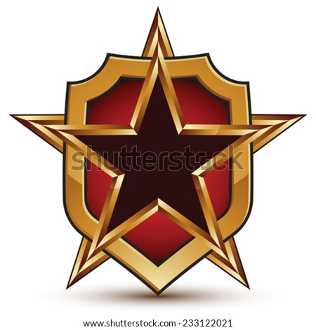 3d vector classic royal symbol, sophisticated golden star emblem with a shield isolated on white background, glossy festive element. - stock vector