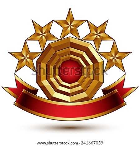 3d vector classic royal symbol with sophisticated five golden stars and red decorative wavy ribbon, glossy golden element isolated on white background. Elegant blazon.