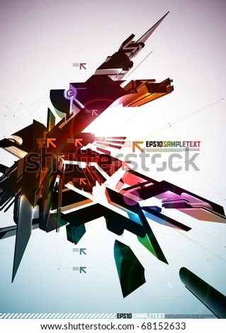 3D Vector Destructive Element - stock vector