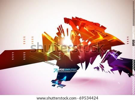 3D Vector Destructive Element - stock vector