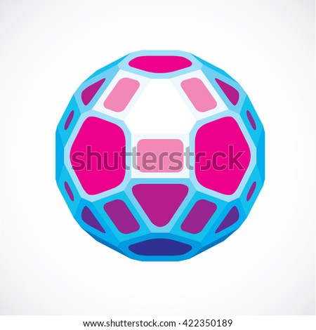 3d vector digital spherical object made using pentagons and square facets. Low poly shape, purple polygonal globe, abstract form for use in web design. - stock vector