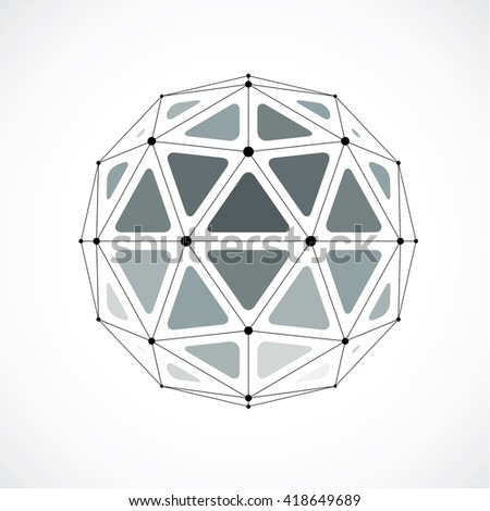 3d vector digital wireframe spherical object made using triangular facets. Geometric polygonal structure created with lines mesh. Low poly shape, gray lattice form for use in web design.